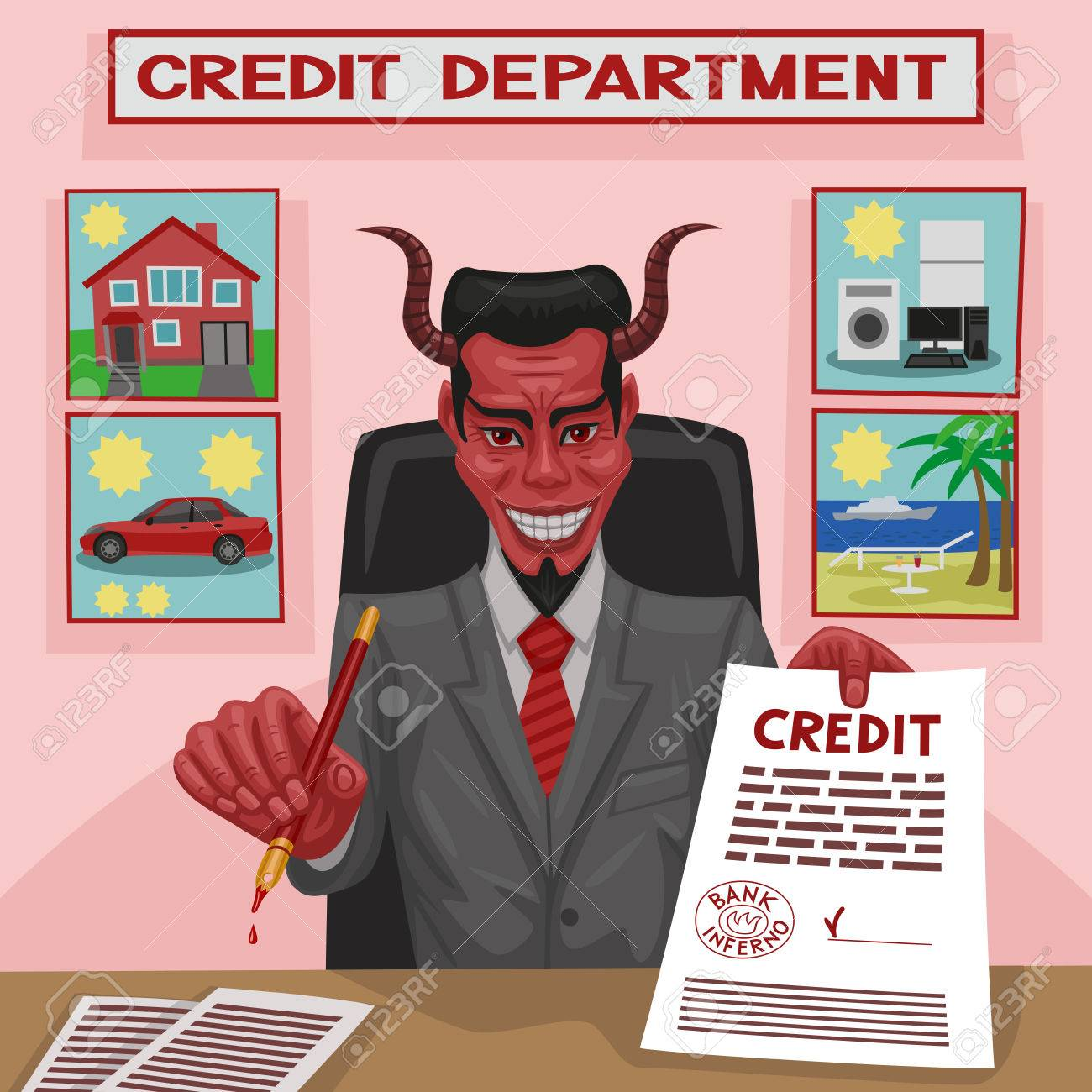 The devil offers credit for consumer needs for the client Stock Vector - 27517941