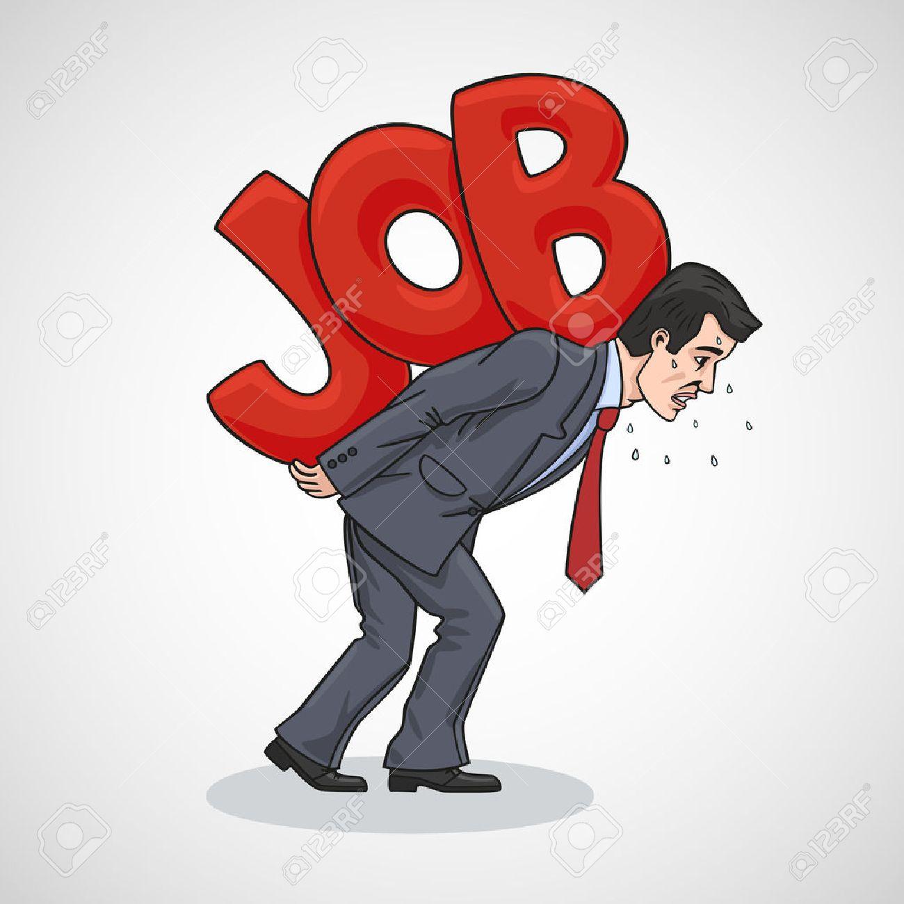 Caricature Homme la caricature représente un homme d'affaires qui a été épuisé. clip