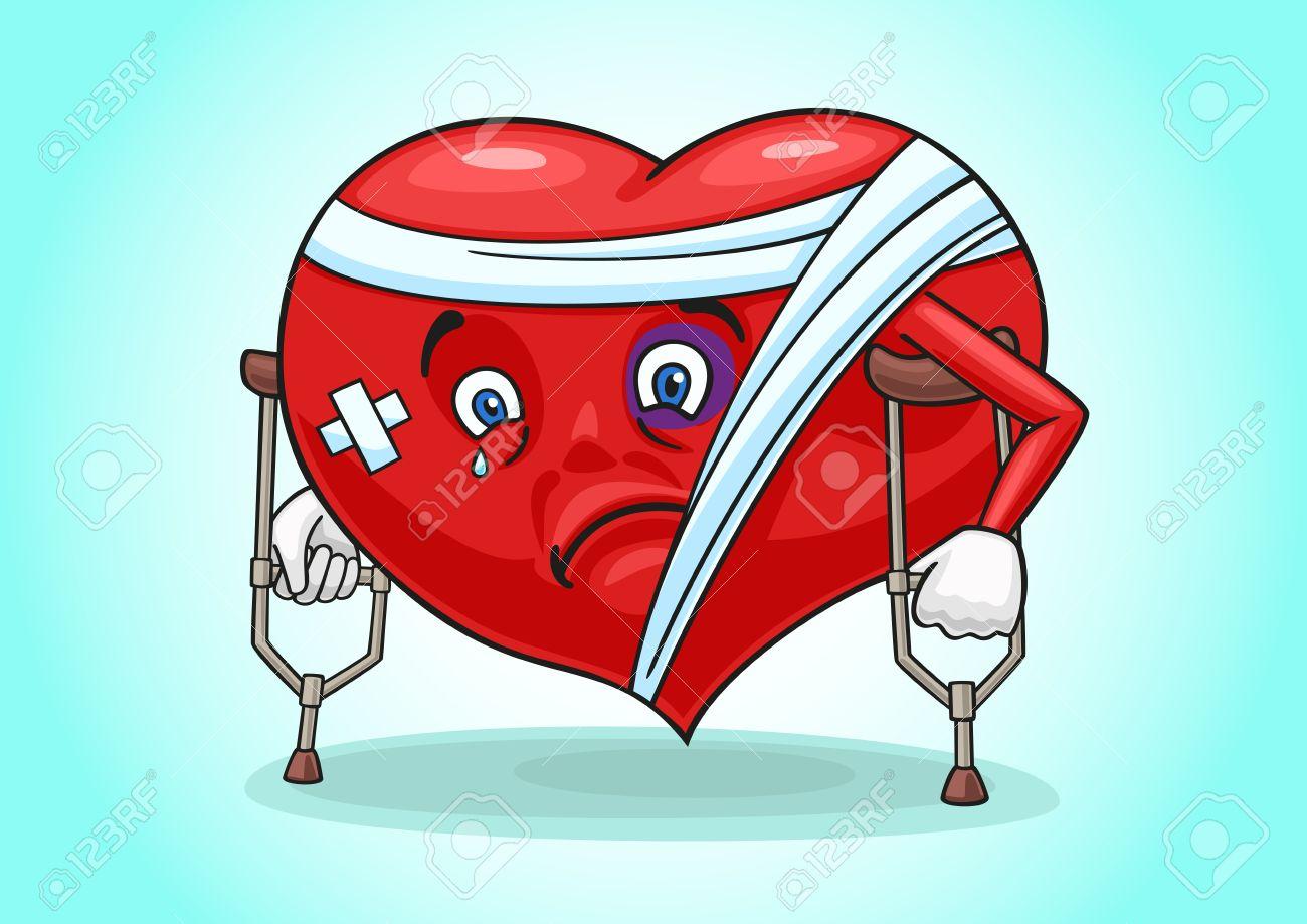 Das Bild Zeigt Ein Krankes Herz Auf Krücken. Lizenzfrei Nutzbare ...