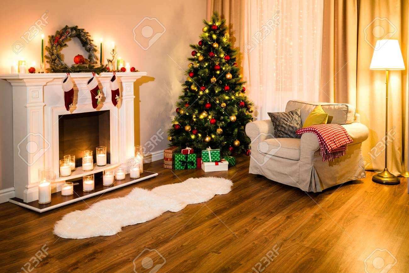 Cozy Living Room Full Of Warm Light From Decorations For A Coming