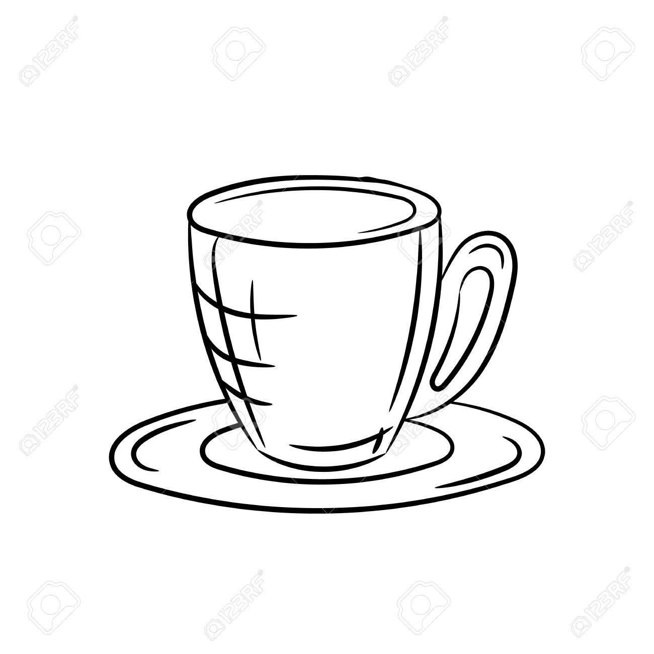 Hand Draw Cup And Saucer On A White Background Royalty Free Cliparts Vectors And Stock Illustration Image 56023099