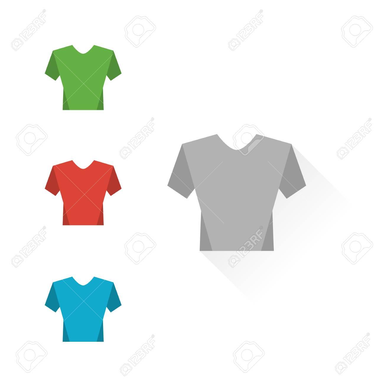 Conjunto de las camisetas del color sobre un fondo blanco. camisetas maqueta.  Diseño plano 39238a73bae68