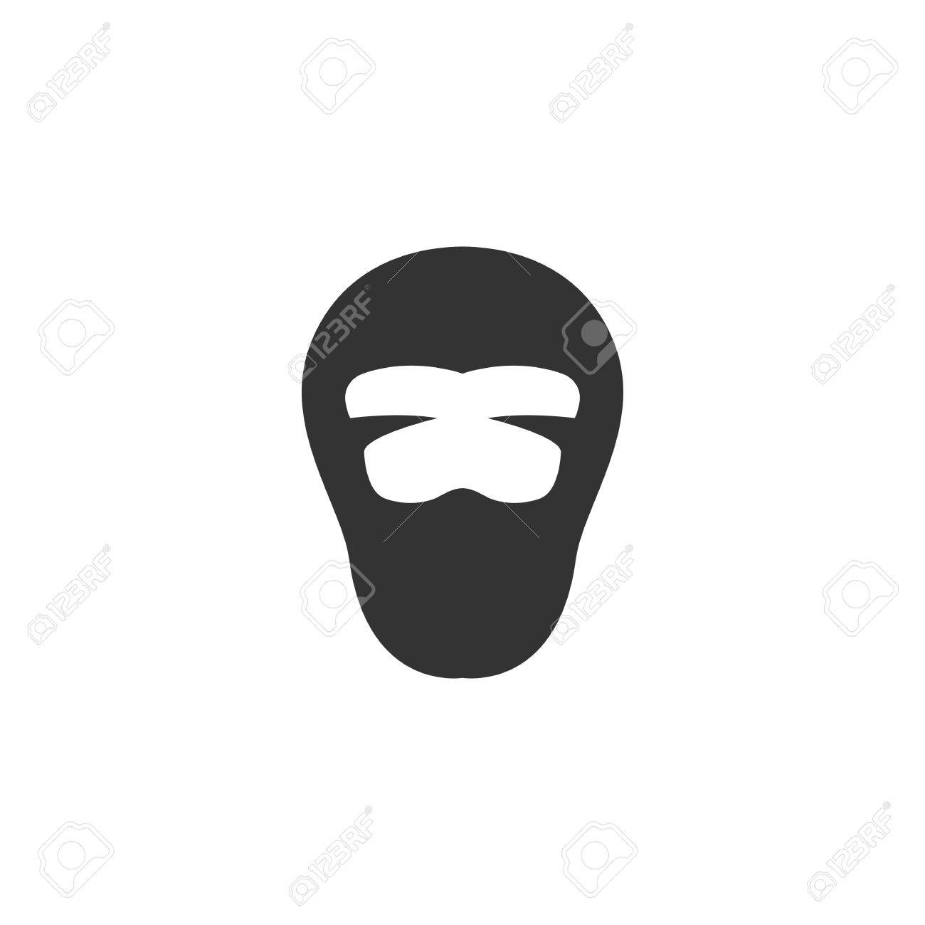 ninja logo silhouette design template isolated on a white background