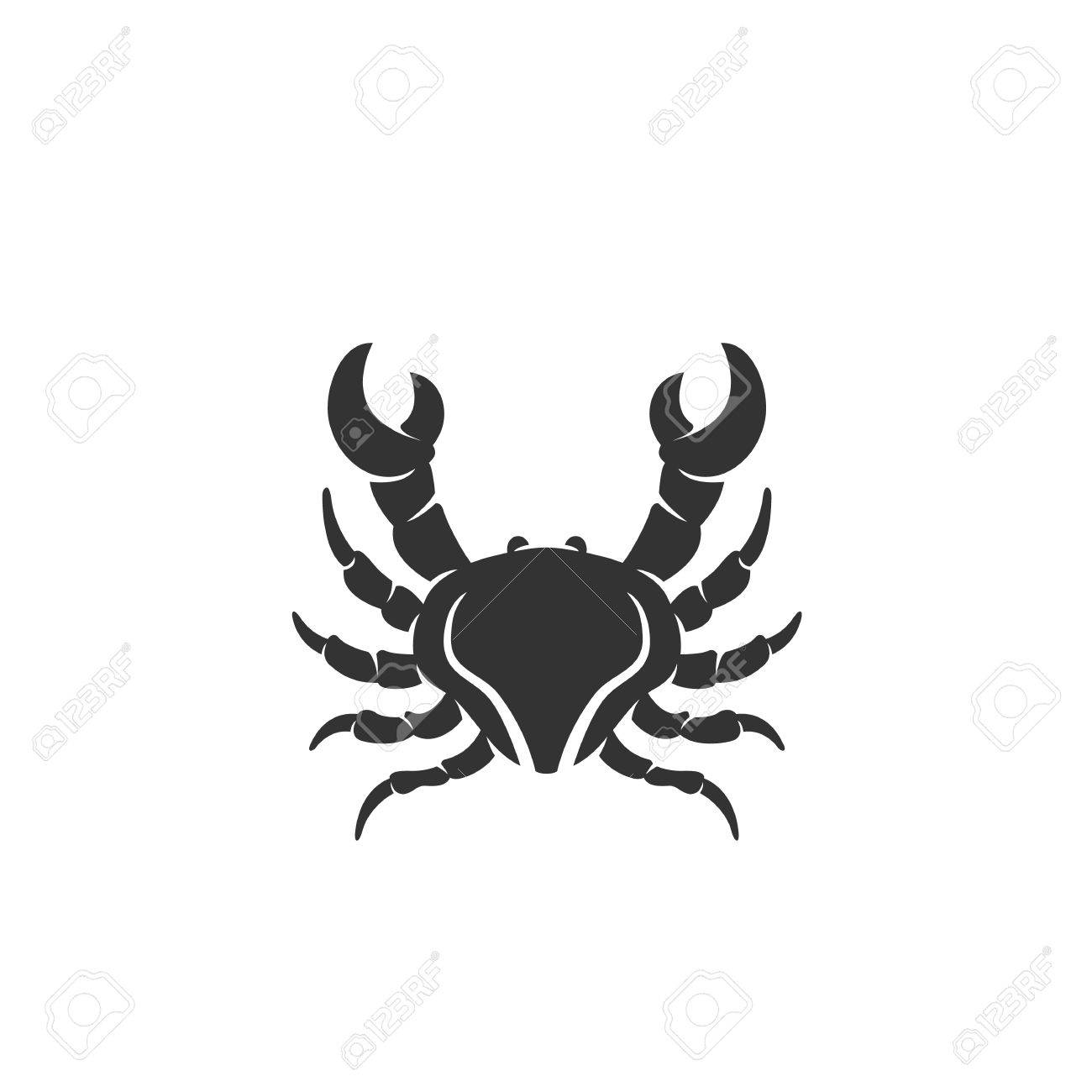 Crab Logo Silhouette Design Template Isolated On A White Background