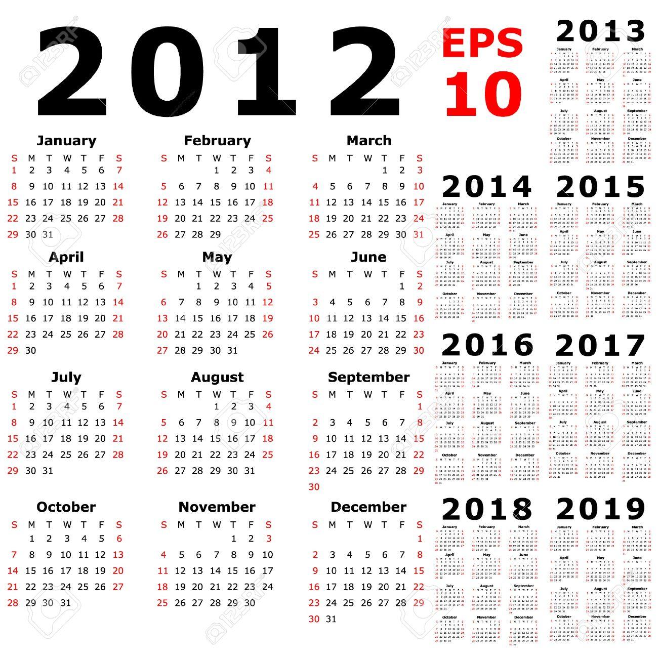 basic calendar 2012 2013 2014 2015 2016 2017 2018 2019