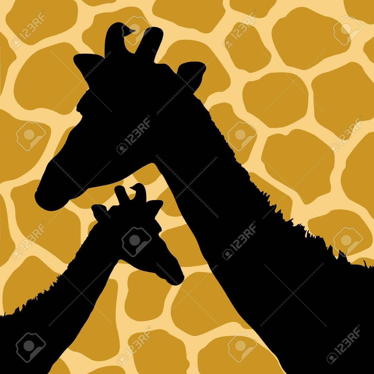 Giraffe Hide Pattern with Giraffes Stock Vector - 17286131