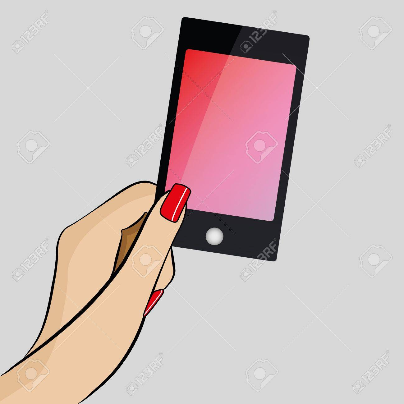 Womans hand holding a modern mobile phone Stock Vector - 17286132