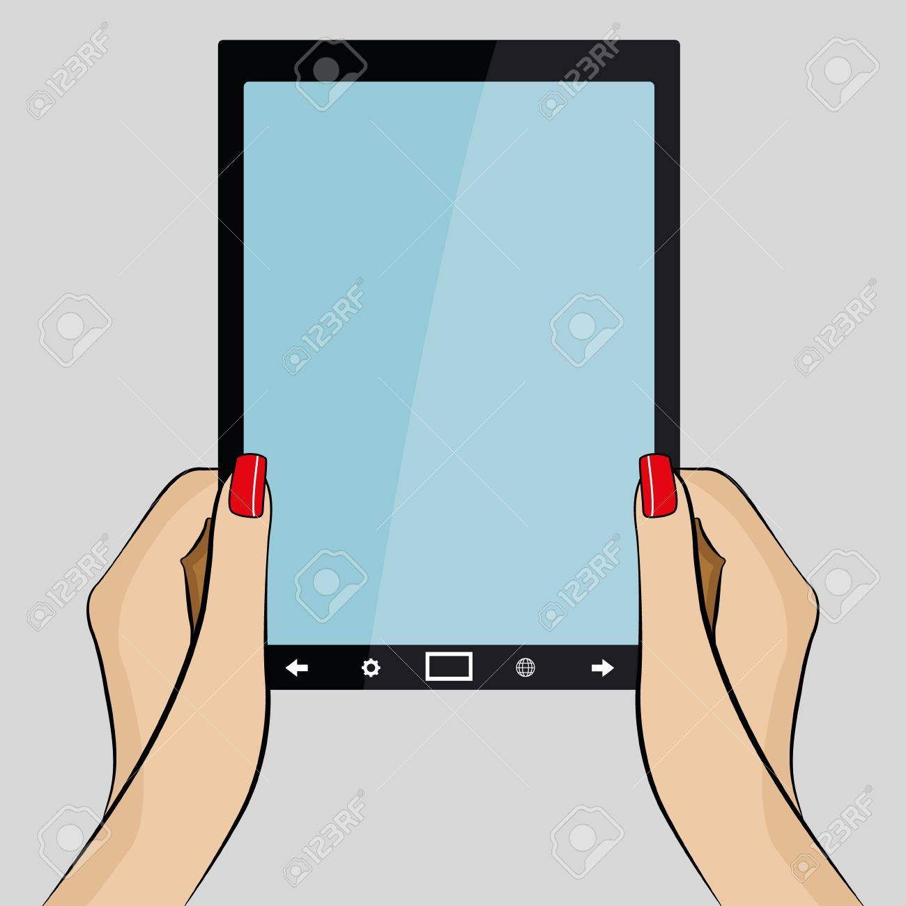 Womans hands holding a 3d generic tablet PC Stock Vector - 17286129