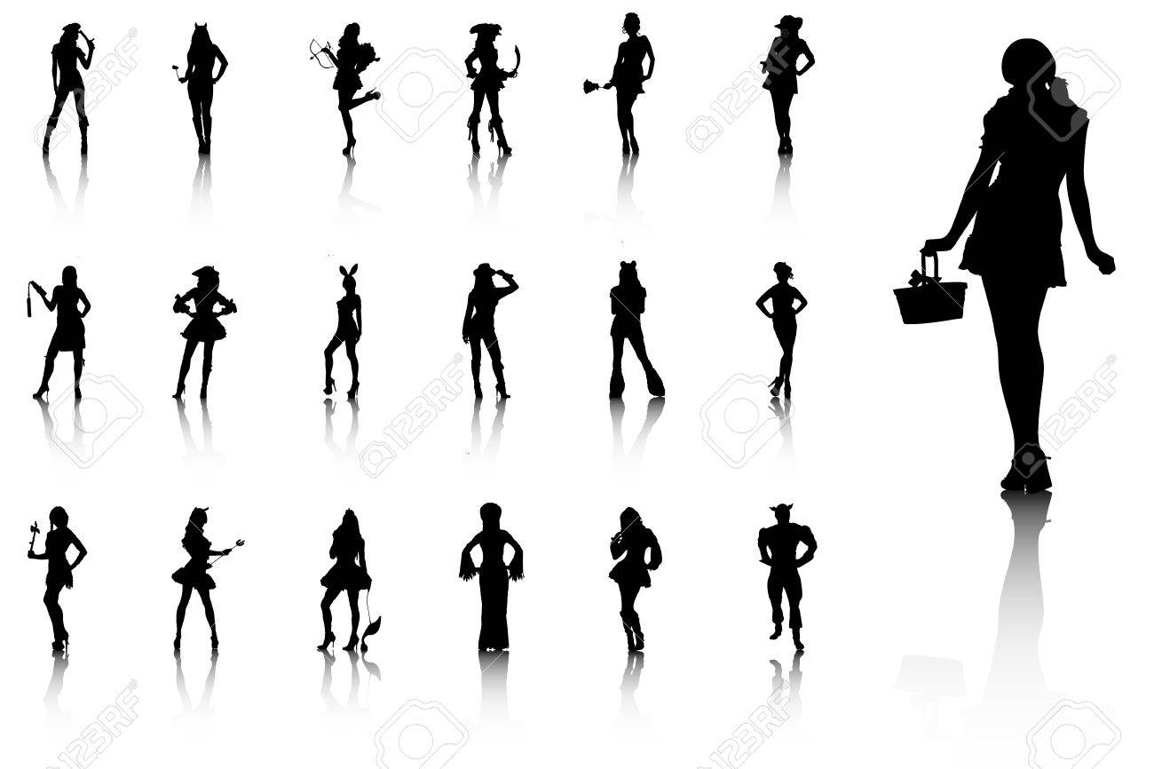Set of sexy silhouettes in costumes Stock Vector - 17286166