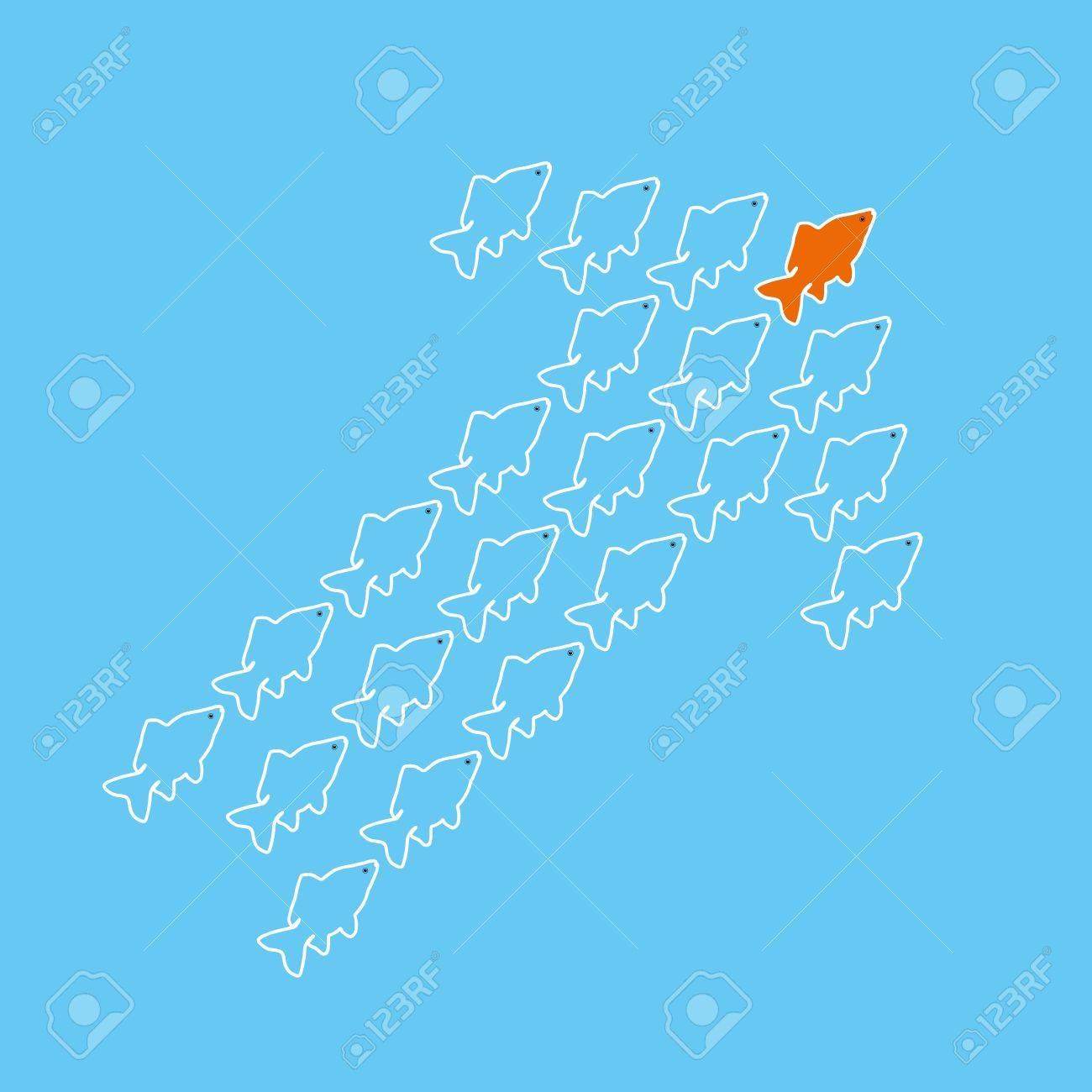 clip art illustration of goldfish forming an arrow Stock Vector - 17286140
