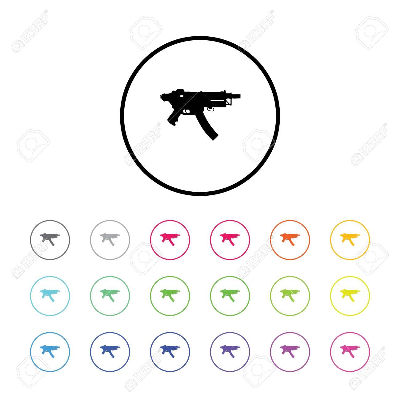 18 カラー バリエーション 銃を持つアイコン イラストのイラスト素材
