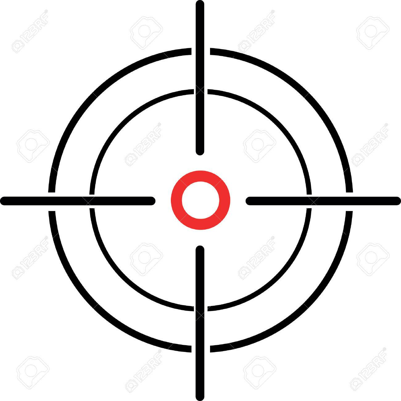 An Illustration of a crosshair reticle on a white background - 31011145