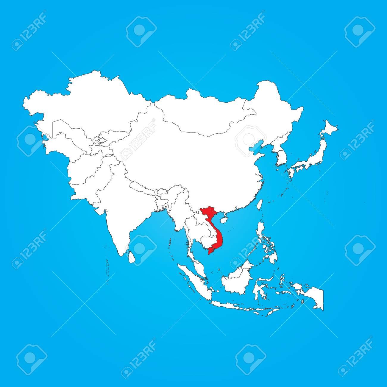 A Map Of Asia With A Selected Country Of Vietnam Royalty Free Cliparts Vectors And Stock Illustration Image 32369038