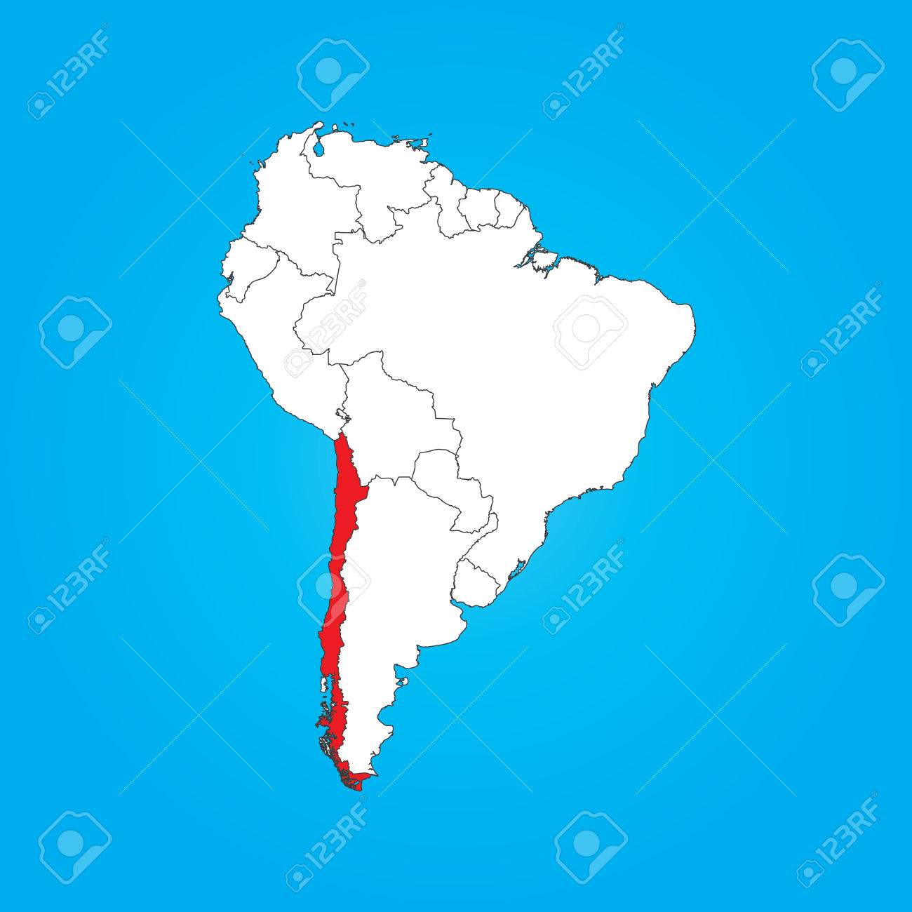 A Map Of South America With A Selected Country Of Chile Royalty Free