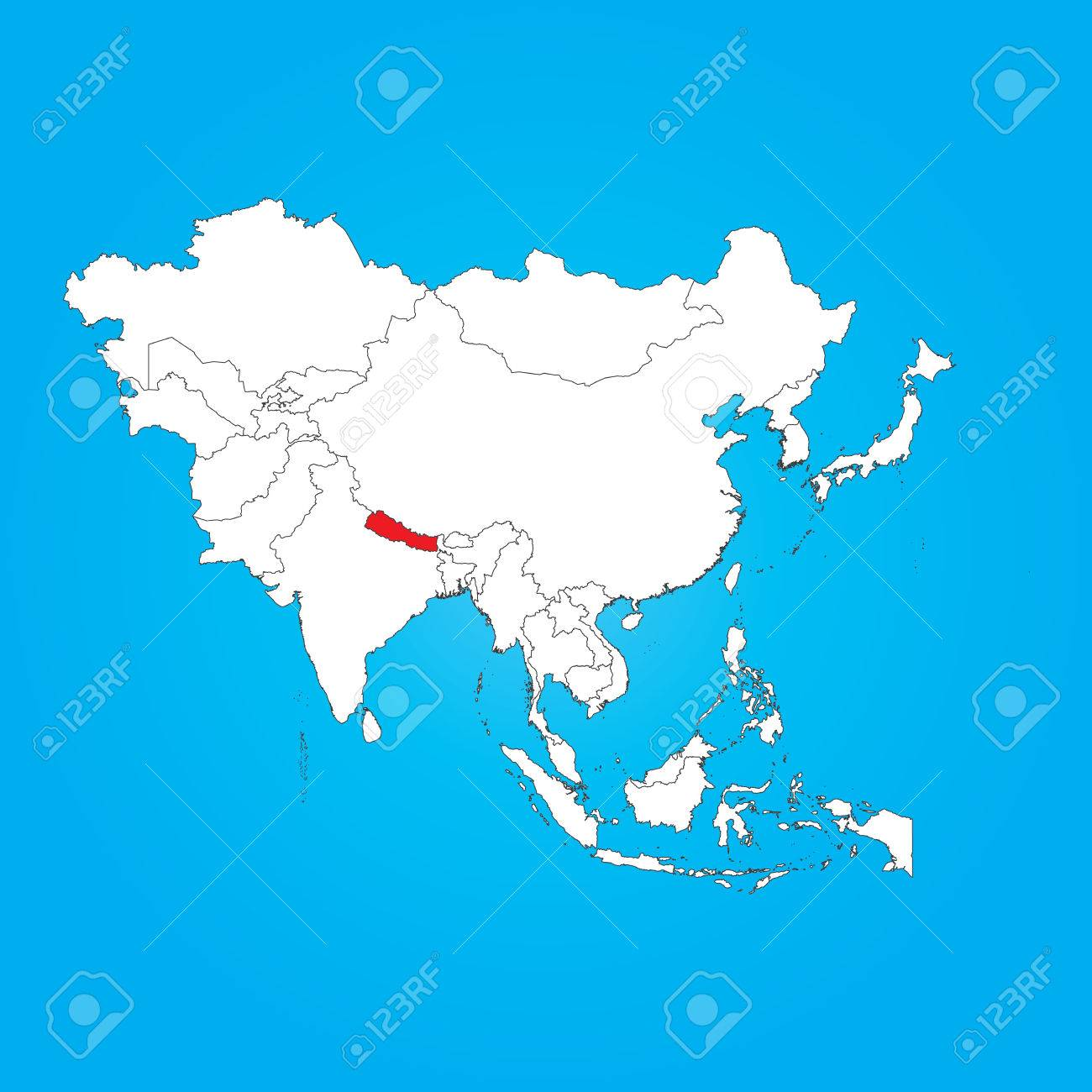 A Map Of Asia With A Selected Country Of Nepal Royalty Free Cliparts ...