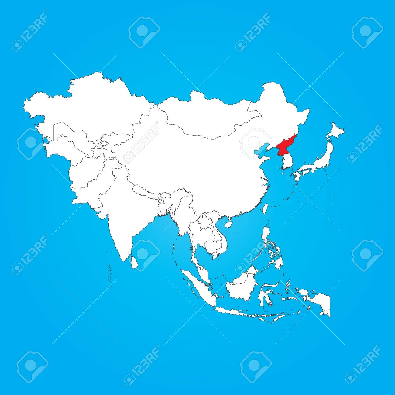 A Map Of Asia With A Selected Country Of North Korea Royalty Free