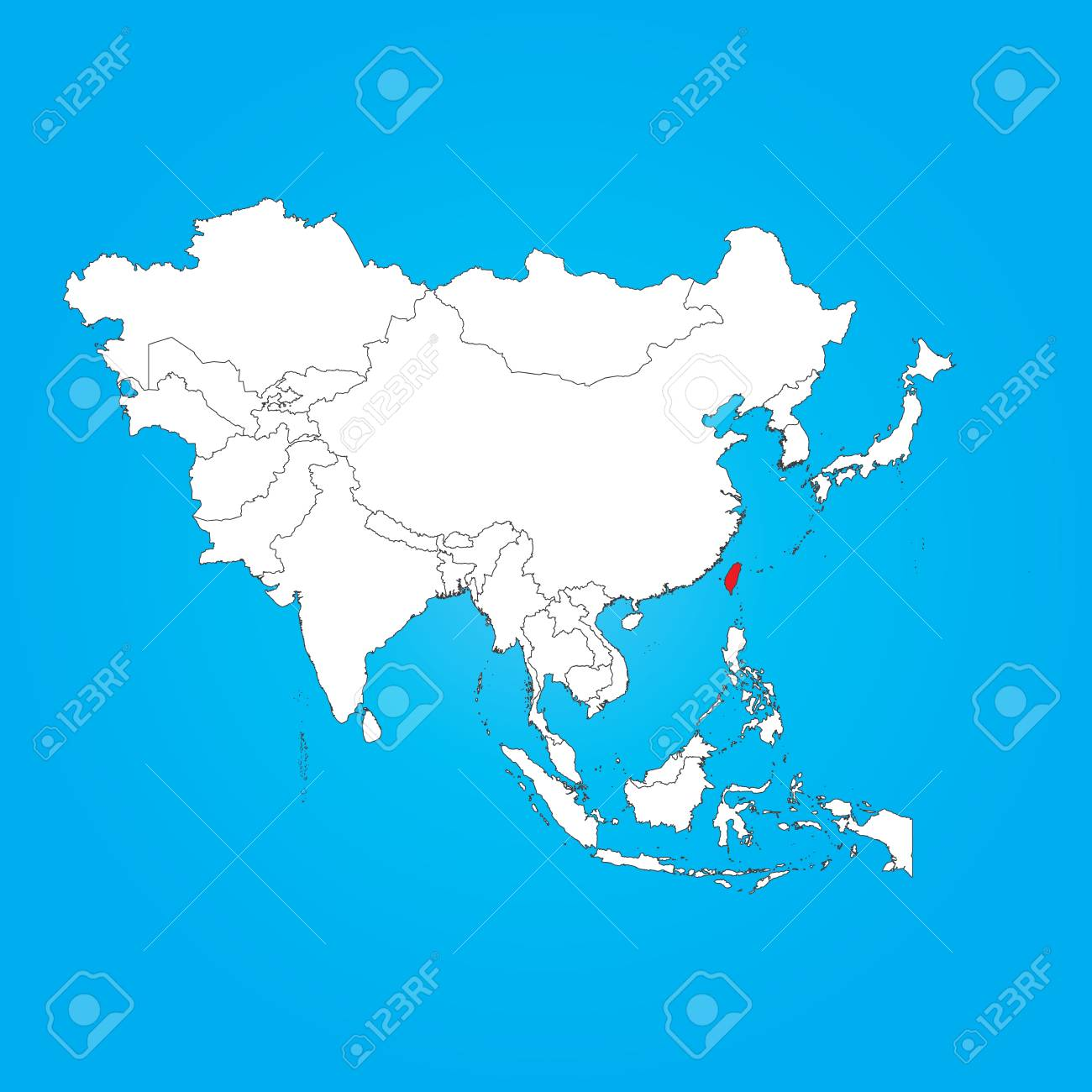 Map Of Asia Taiwan.A Map Of Asia With A Selected Country Of Taiwan