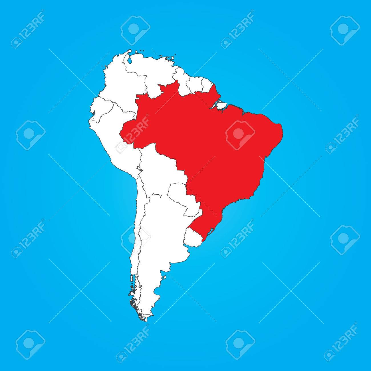 A Map Of South America With A Selected Country Of Brazil Royalty