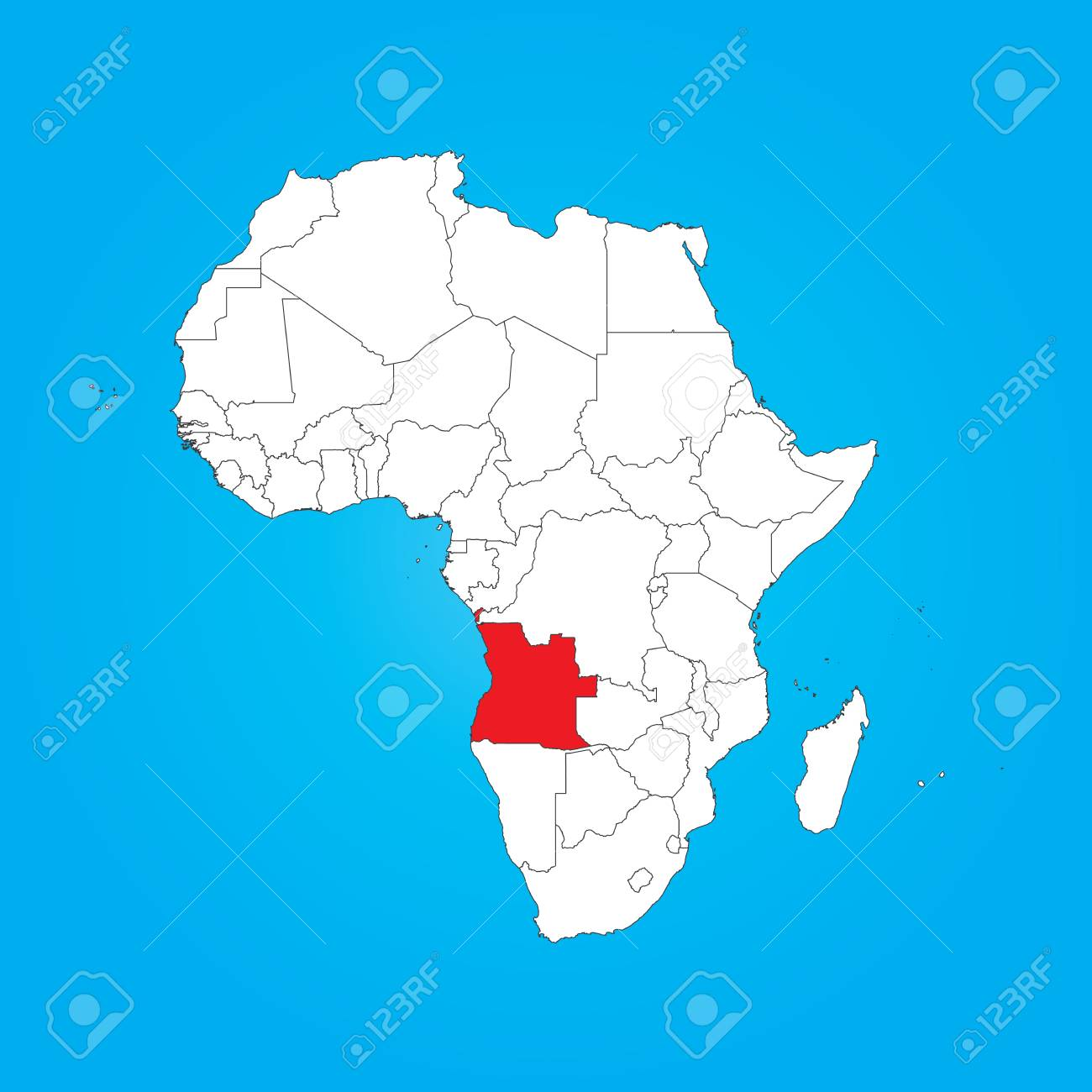 Angola On Africa Map.A Map Of Africa With A Selected Country Of Angola Stock Photo