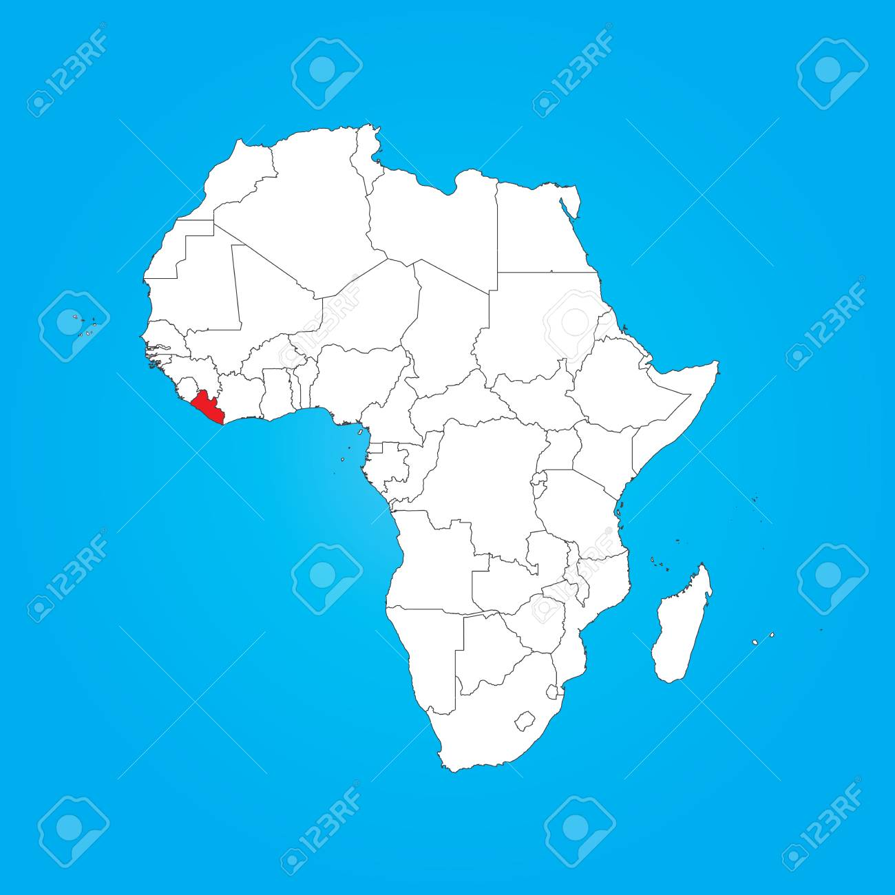 Liberia On Africa Map.A Map Of Africa With A Selected Country Of Liberia Stock Photo
