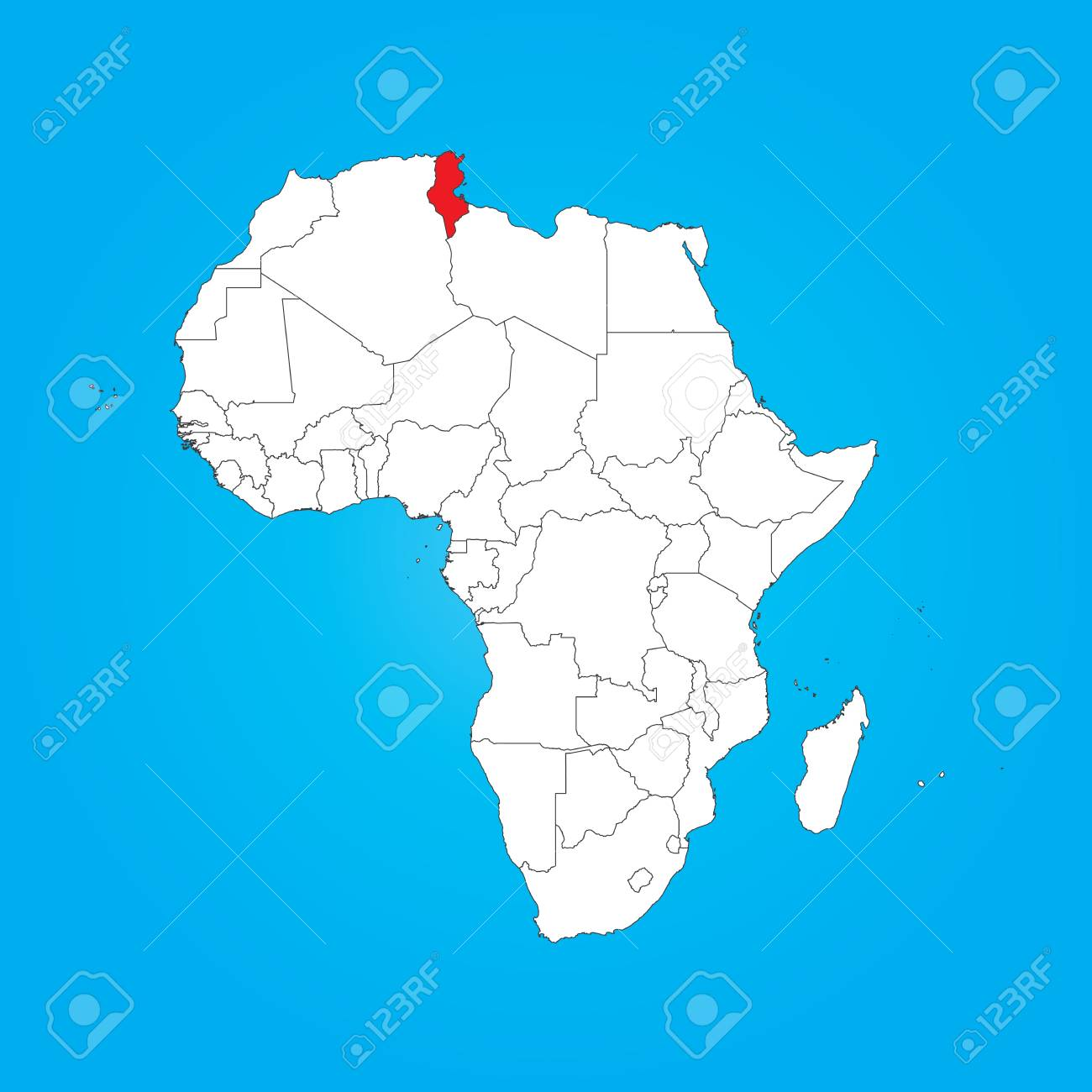 A Map Of Africa With A Selected Country Of Tunisia Stock Photo