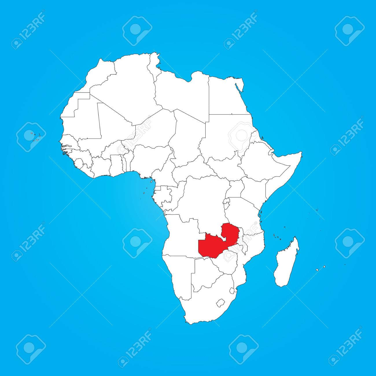 A Map Of Africa With A Selected Country Of Zambia Stock Photo ...