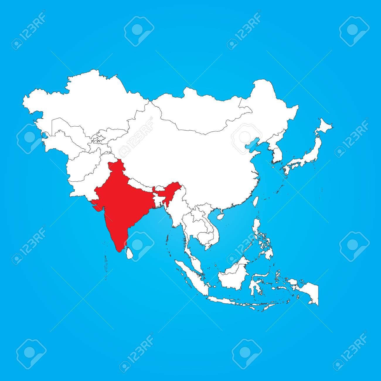 Carte Asie Inde.Une Carte De L Asie Avec Un Pays Selectionne De L Inde