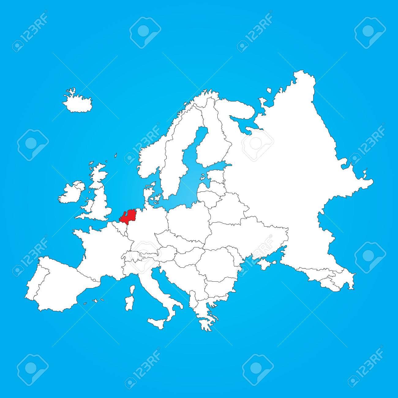 Carte Europe Pays Bas.Une Carte D Europe Avec Un Pays Selectionne De Pays Bas Banque D