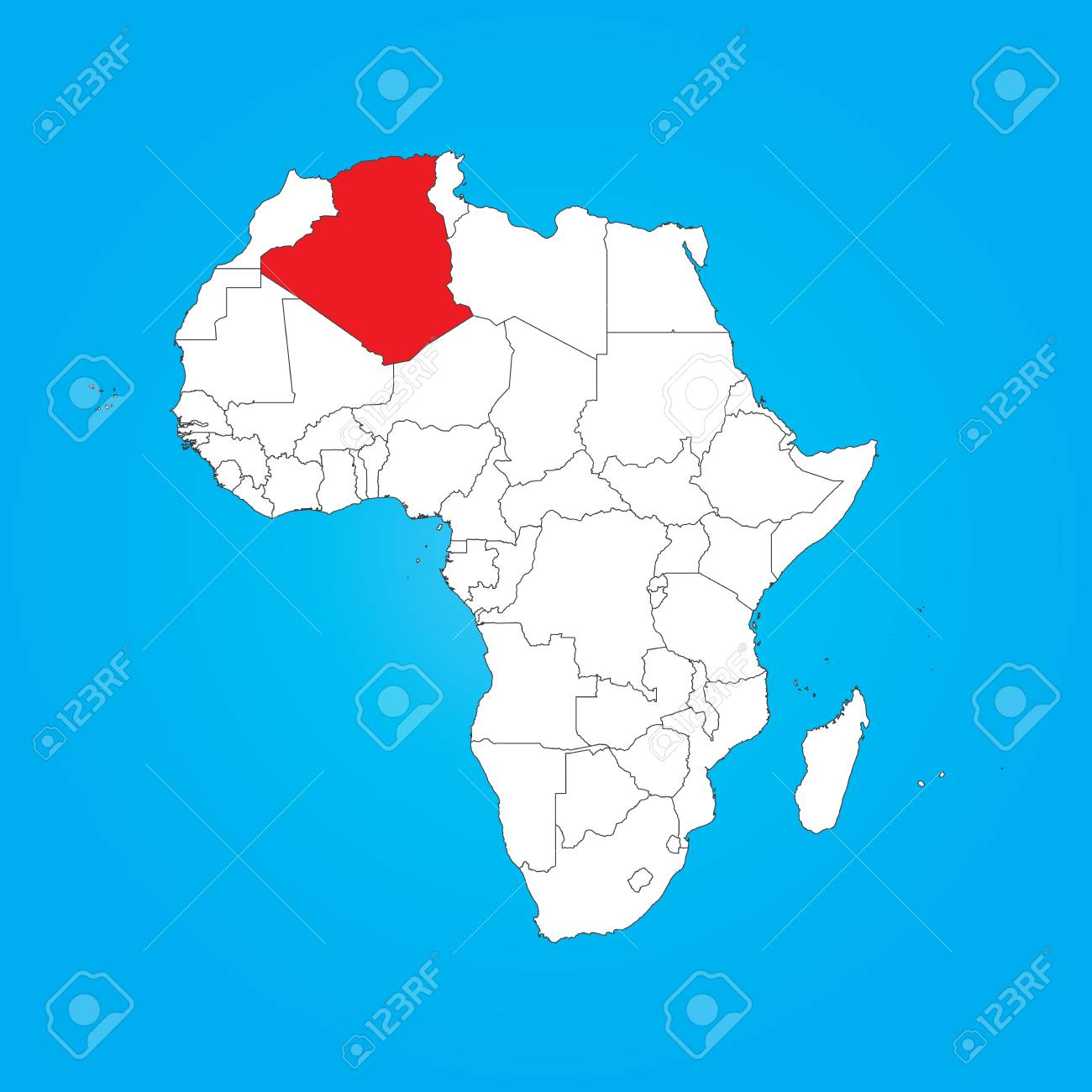 Map Of Algeria Africa A Map Of Africa With A Selected Country Of Algeria Stock Photo