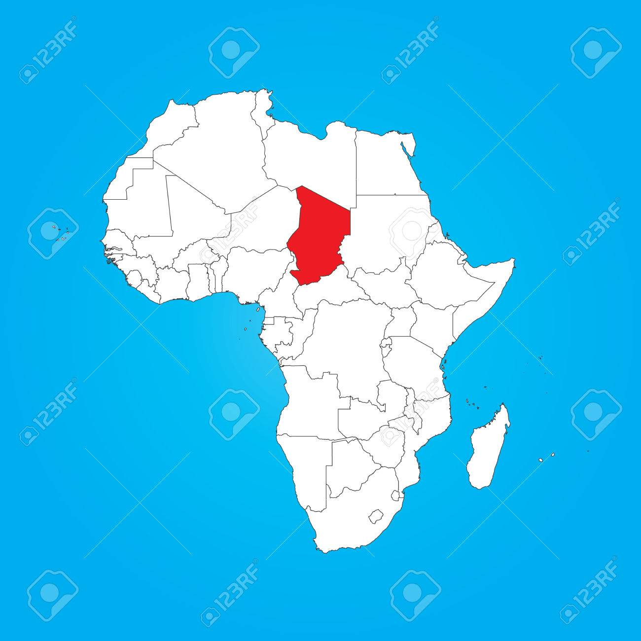 A Map of Africa with a selected country of Chad
