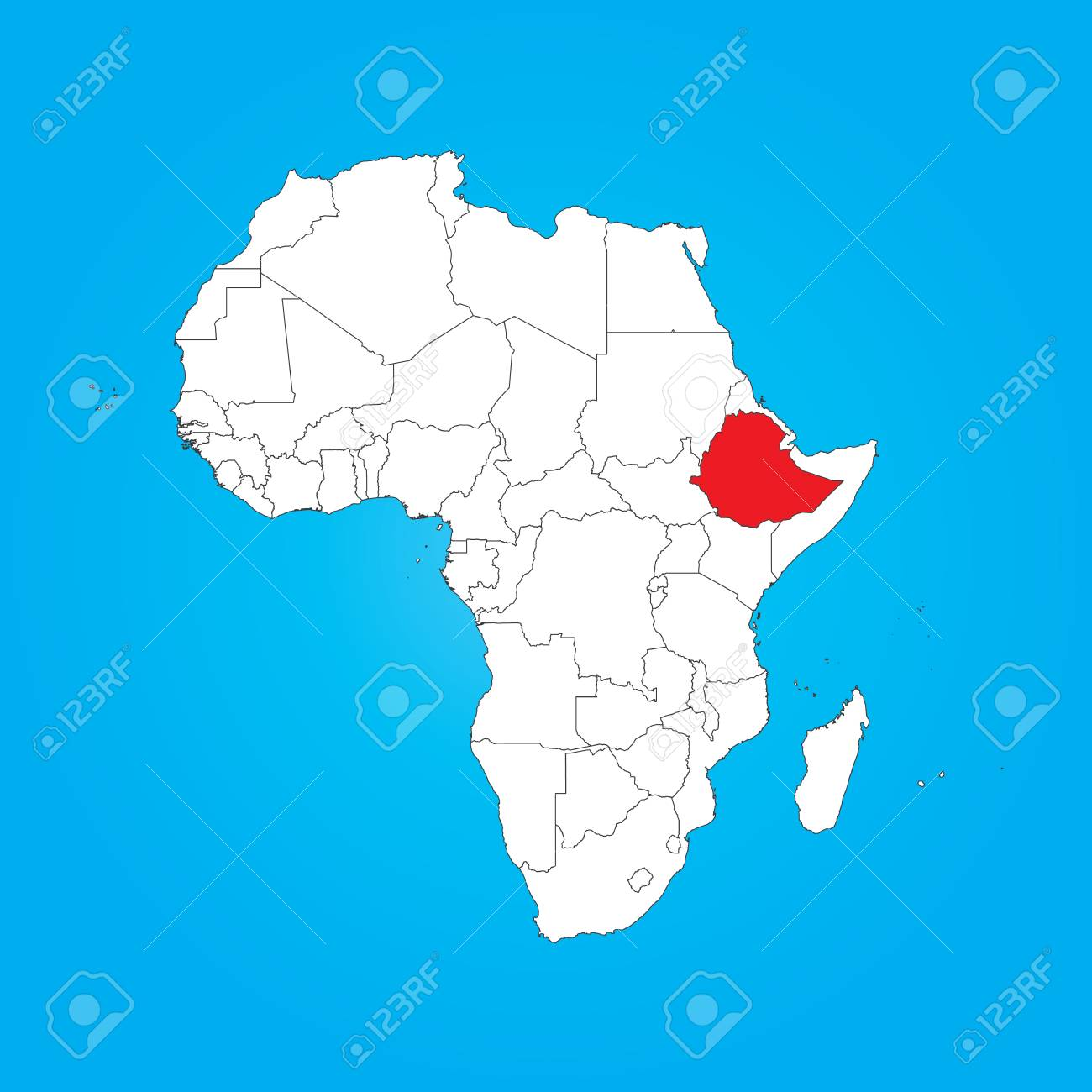 Africa Ethiopia Map.A Map Of Africa With A Selected Country Of Ethiopia