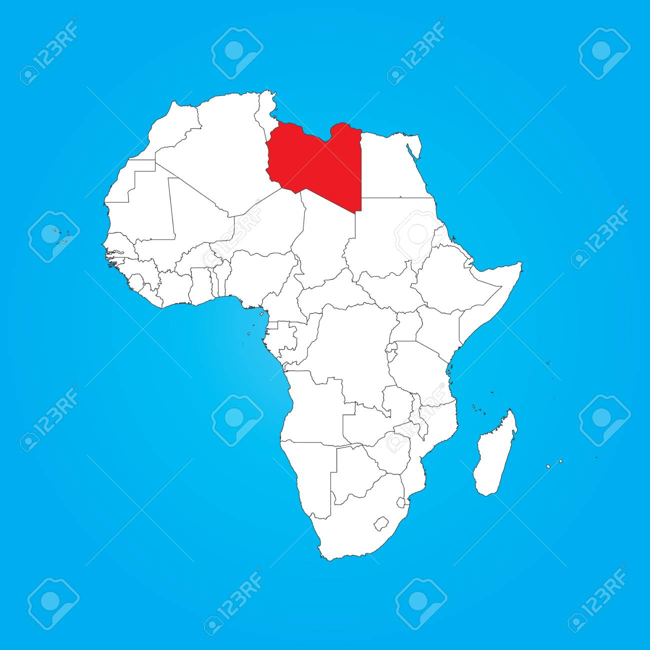 A Map Of Africa With A Selected Country Of Libya Stock Photo