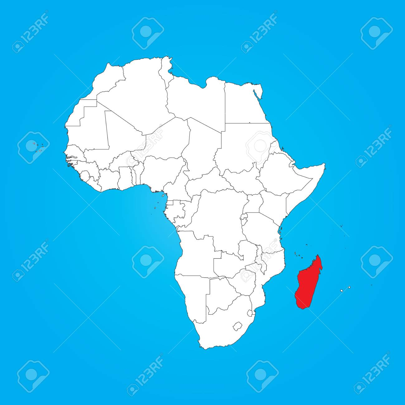 Map Of Africa Madagascar.A Map Of Africa With A Selected Country Of Madagascar