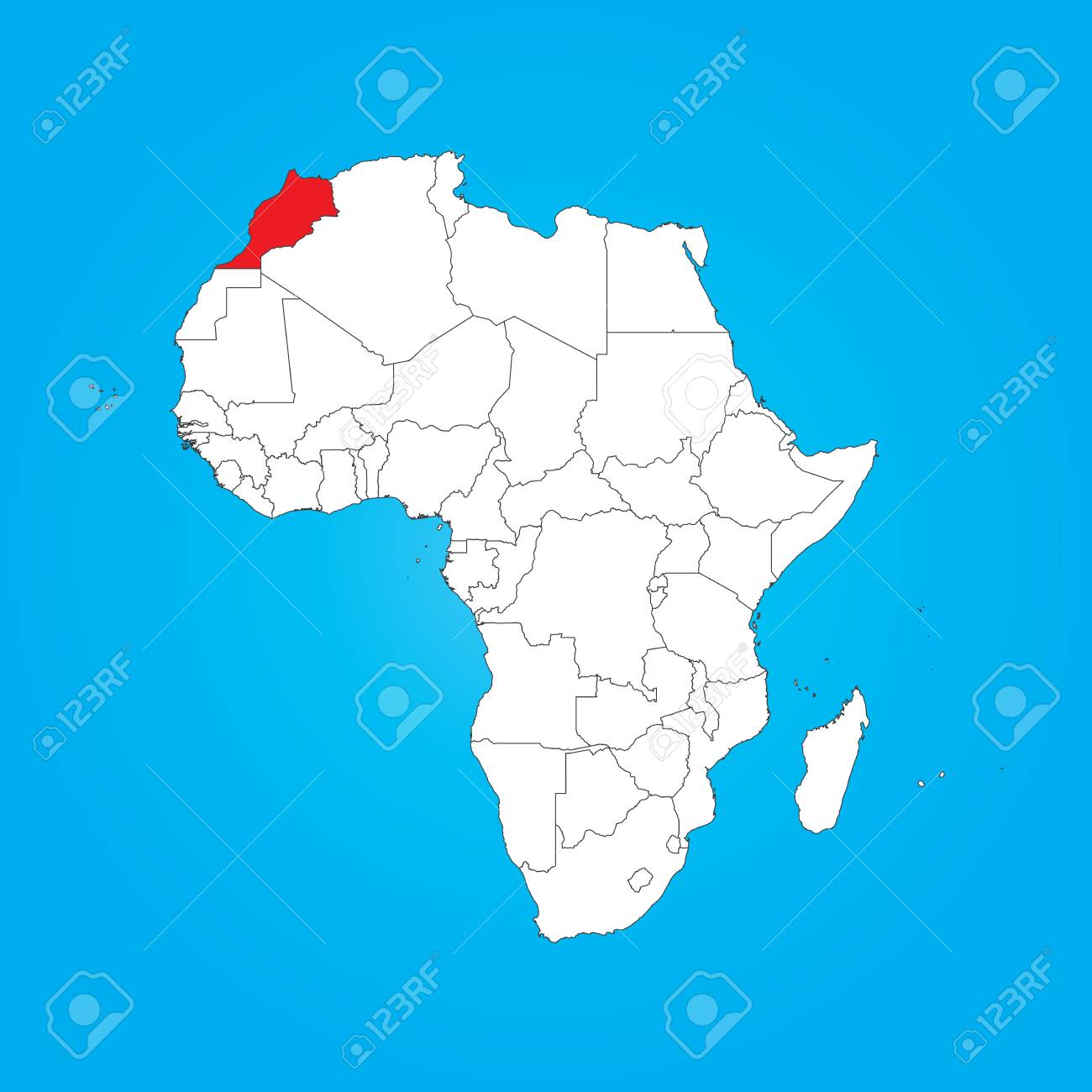 Morocco Map Of Africa.A Map Of Africa With A Selected Country Of Morocco