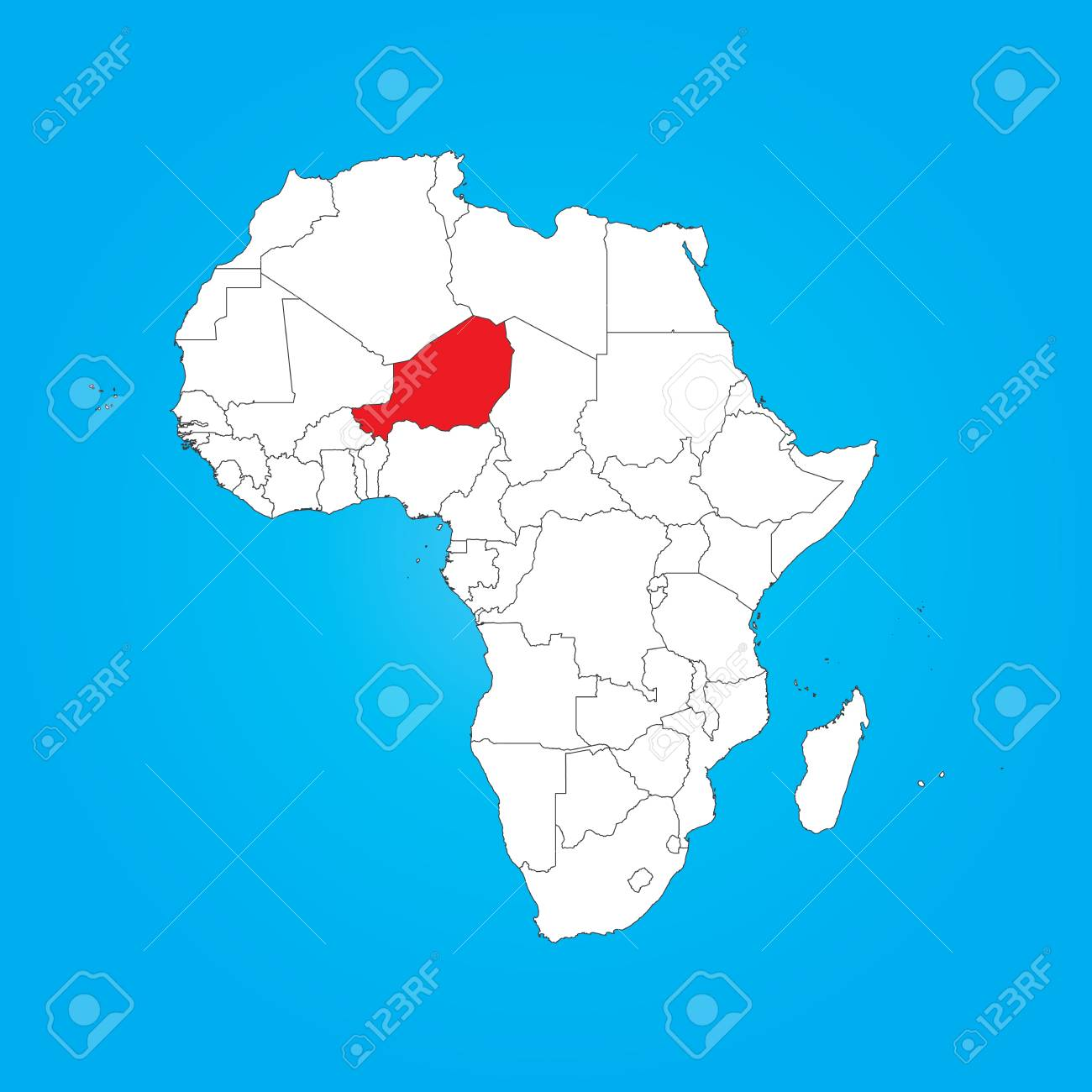 A Map Of Africa With A Selected Country Of Niger Stock Photo