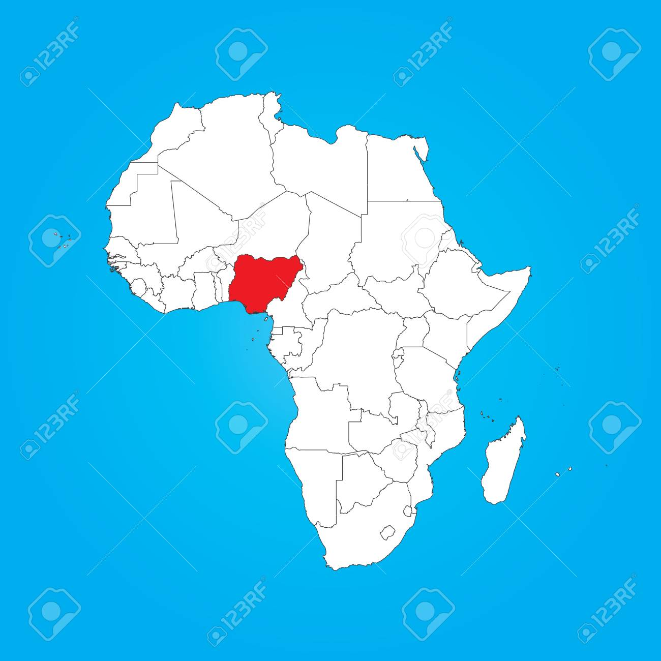 A Map of Africa with a selected country of Nigeria - 32386811