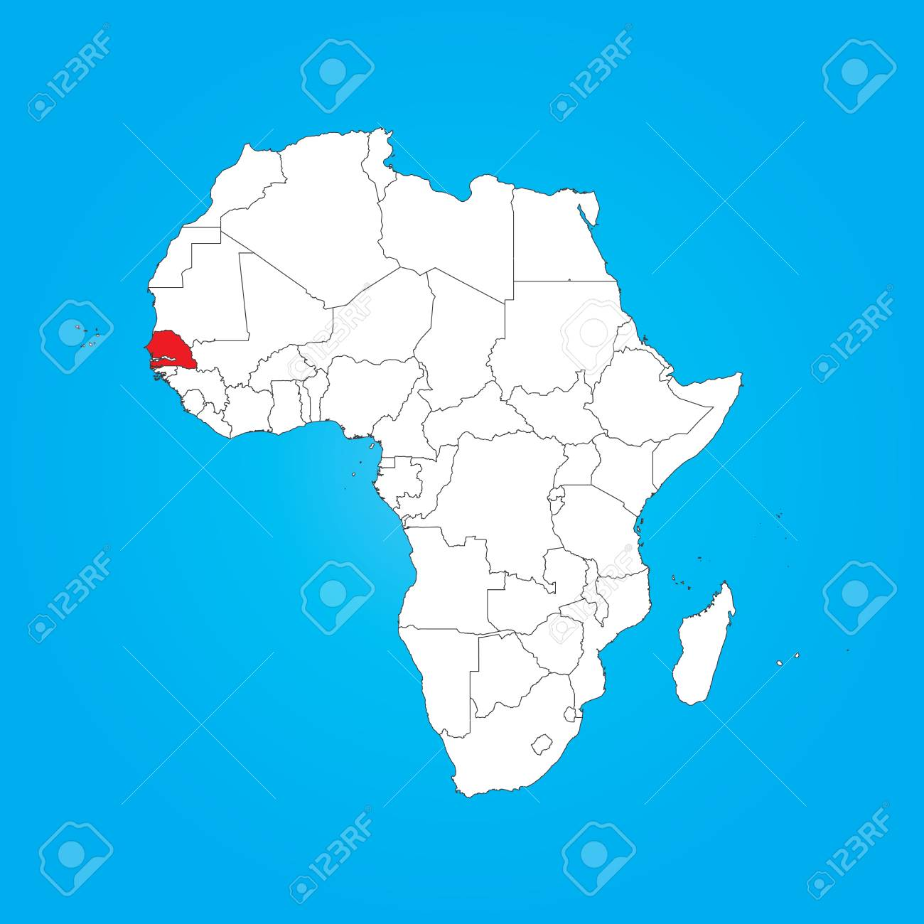 Senegal On Africa Map.A Map Of Africa With A Selected Country Of Senegal Stock Photo