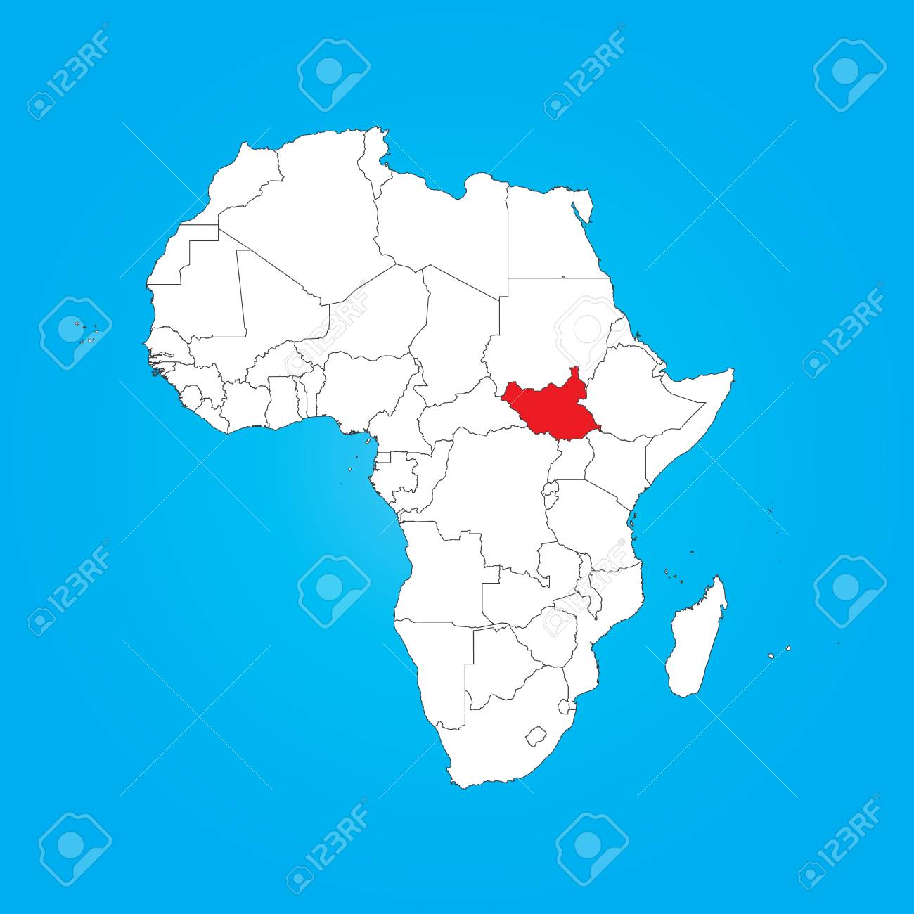 Africa Map With South Sudan.A Map Of Africa With A Selected Country Of South Sudan
