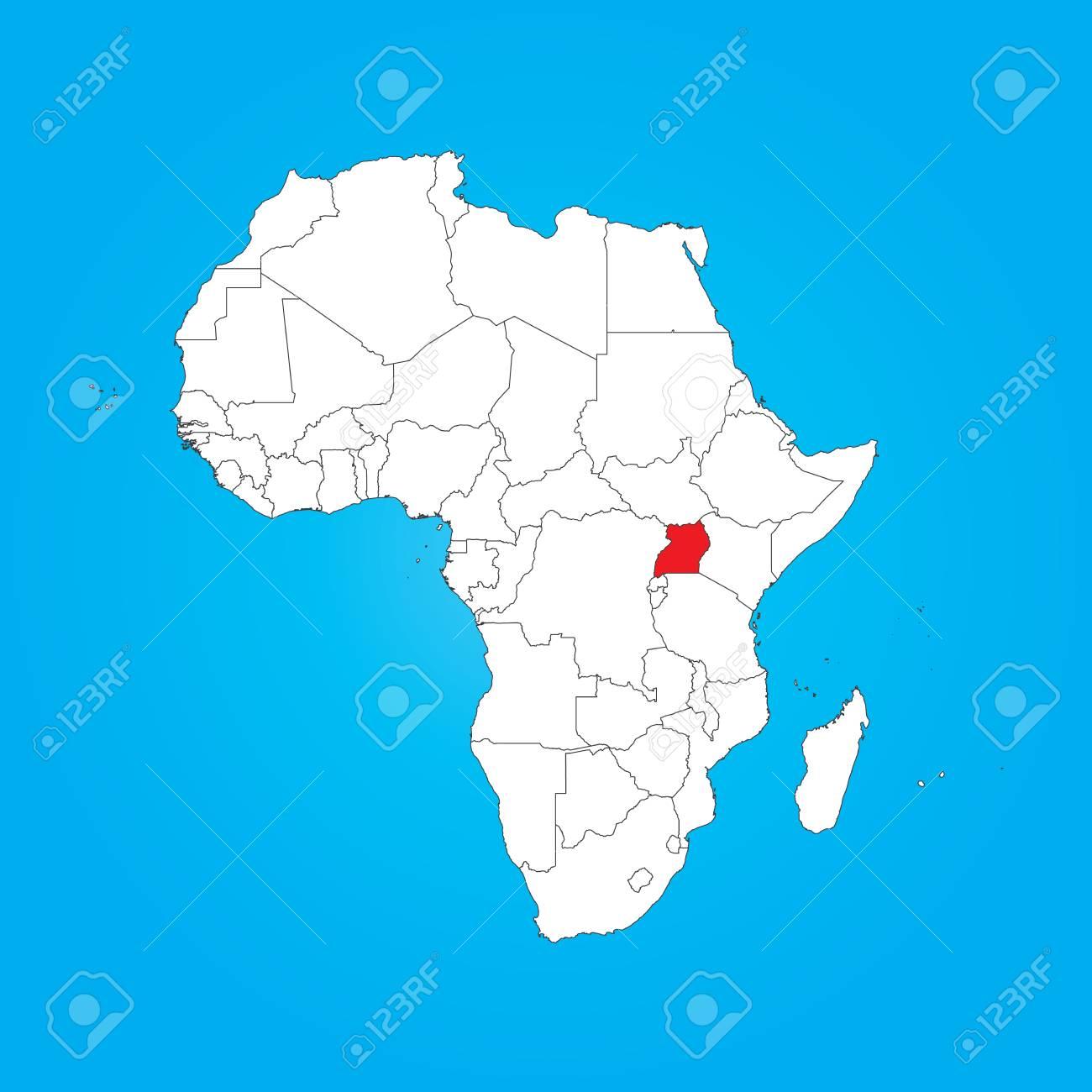 Carte Afrique Ouganda.Une Carte De L Afrique Avec Un Pays Selectionnes De L Ouganda