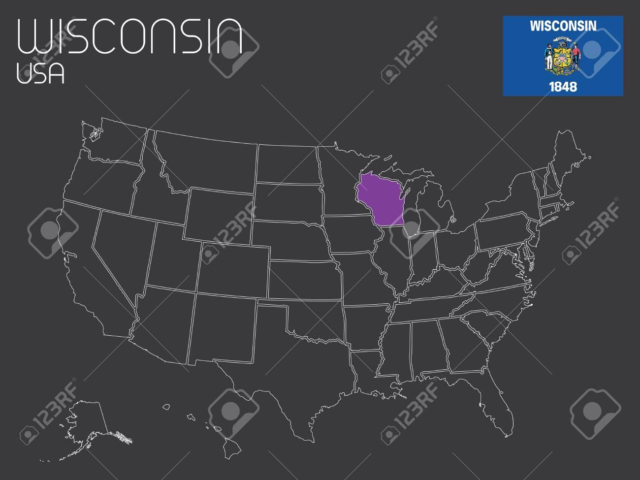 Carte Amerique Wisconsin.Une Carte De La Etats Unis D Amerique Avec Un Etat Selectionne Wisconsin