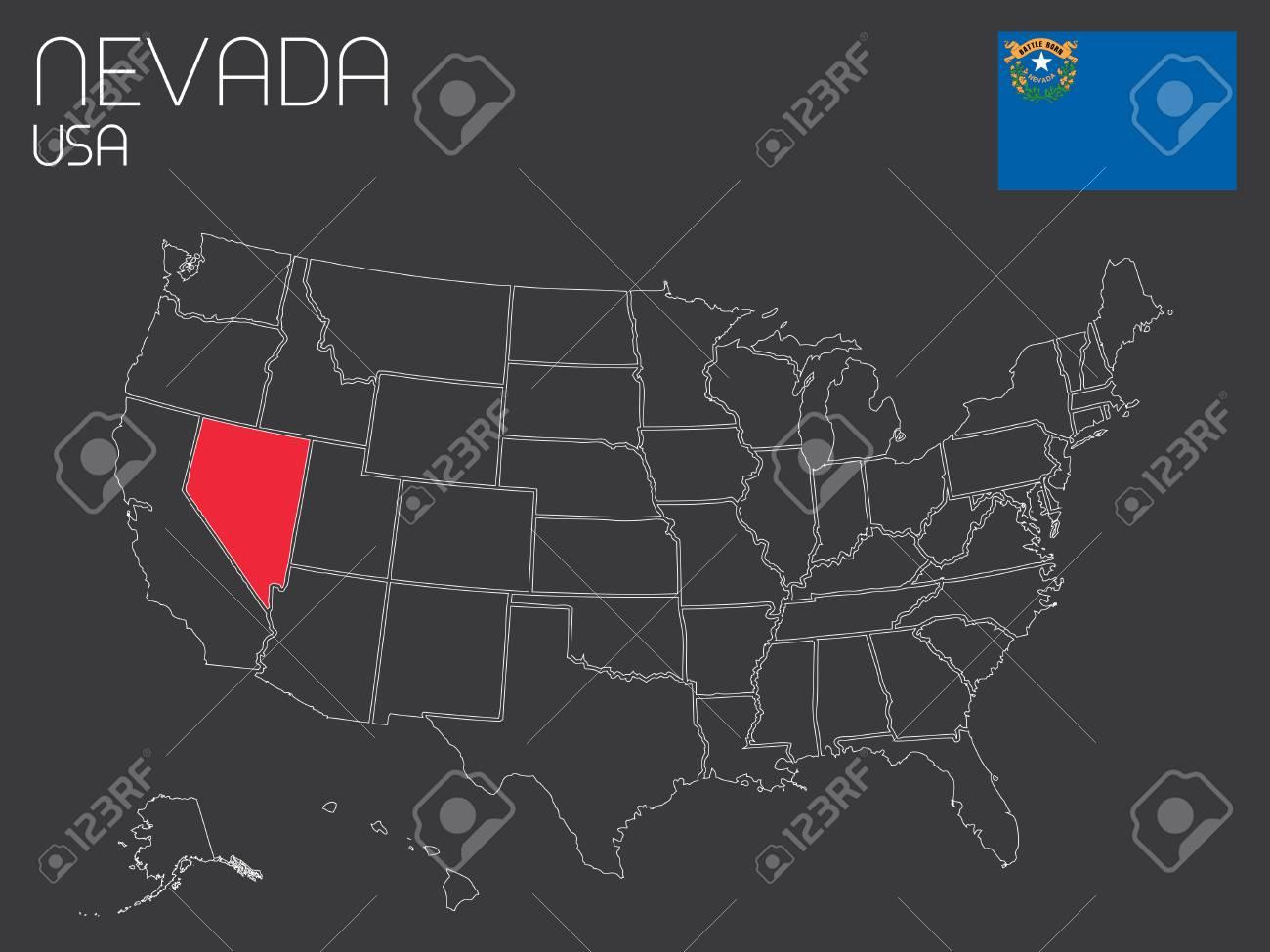 Un Mapa De La De Los Estados Unidos De America Con El Estado Seleccionado 1 Nevada Fotos Retratos Imagenes Y Fotografia De Archivo Libres De Derecho Image 33930497