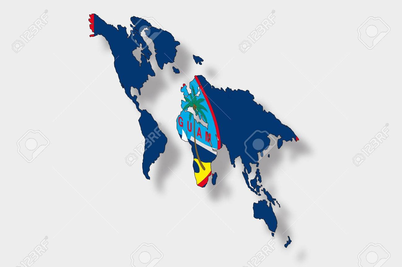A 3D Isometric Flag Illustration of a map of the world with the..