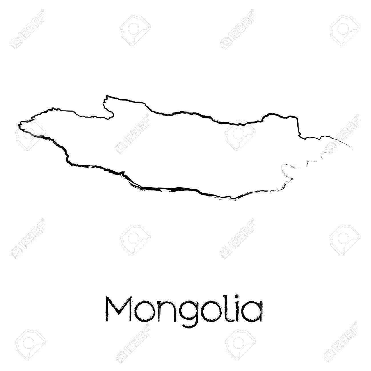 a scribbled shape of the country of mongolia stock photo picture Mongolians in a Dry Land a scribbled shape of the country of mongolia stock photo 44469297