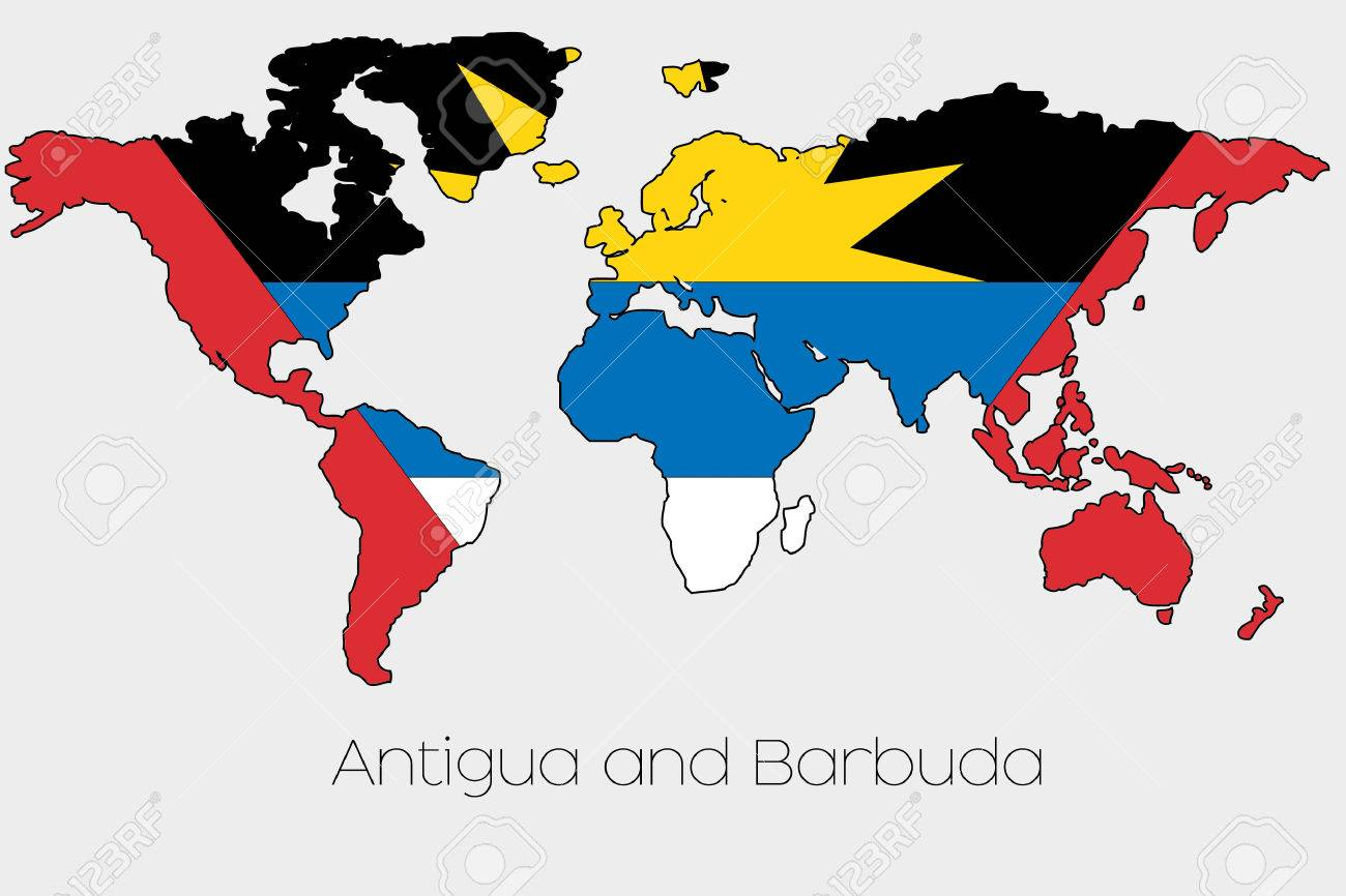 Antigua And Barbuda World Map.A Flag Illustration Inside The Shape Of A World Map Of The Country