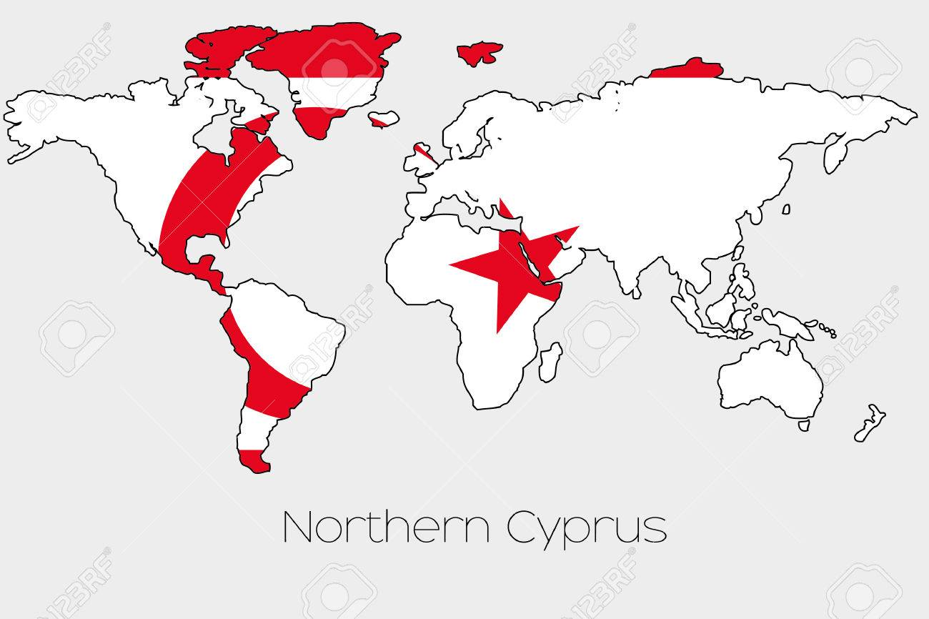 A flag illustration inside the shape of a world map of the country a flag illustration inside the shape of a world map of the country of northern cyprus gumiabroncs Images