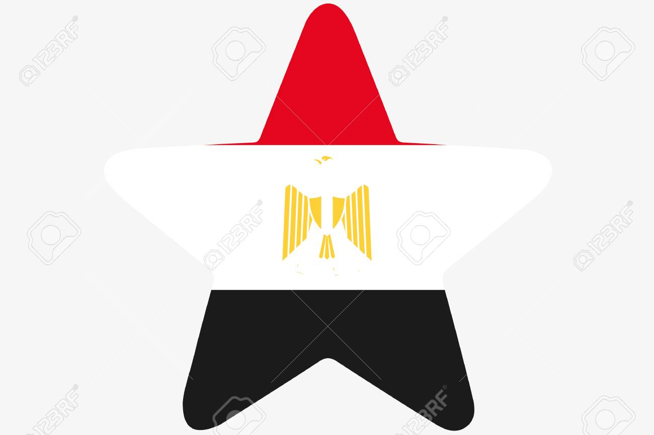 A Flag Illustration Inside A Star Of The Country Of Egypt Stock