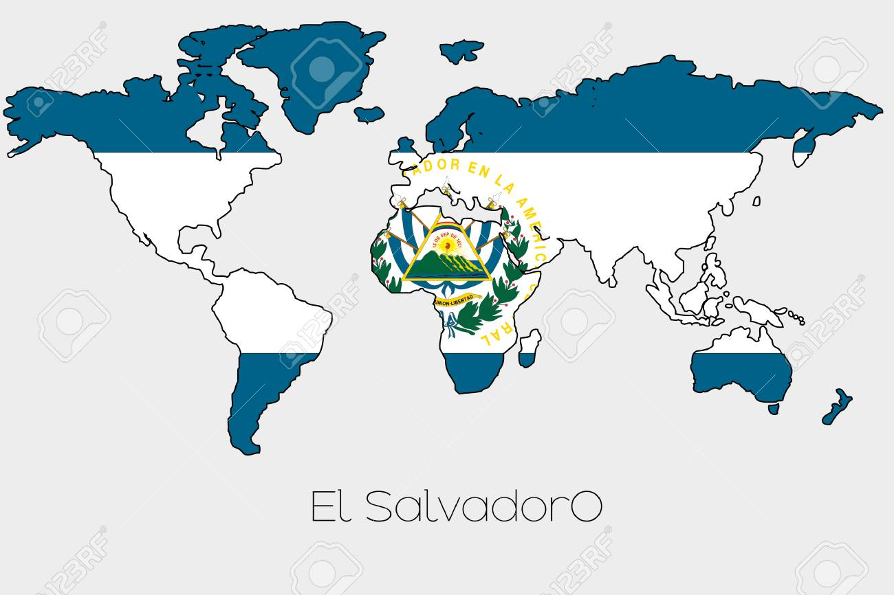 A flag illustration inside the shape of a world map of the country a flag illustration inside the shape of a world map of the country of el salvador gumiabroncs Image collections