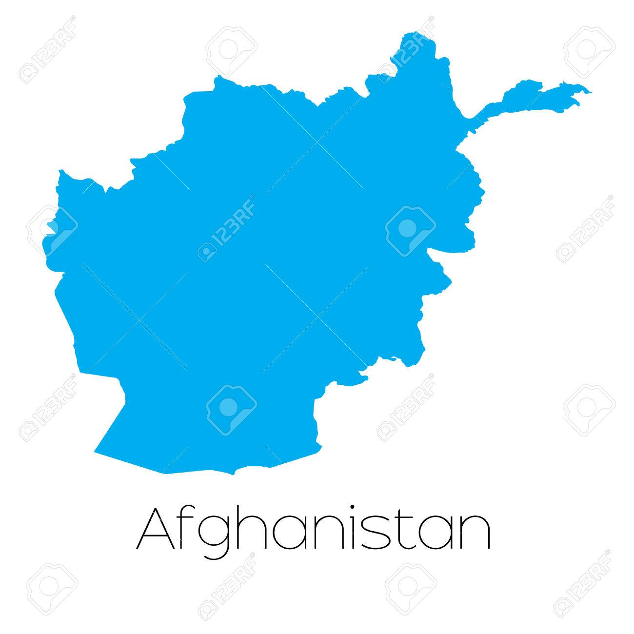 A Blue shape with name of the country of Afghanistan Stock Photo - 44820610