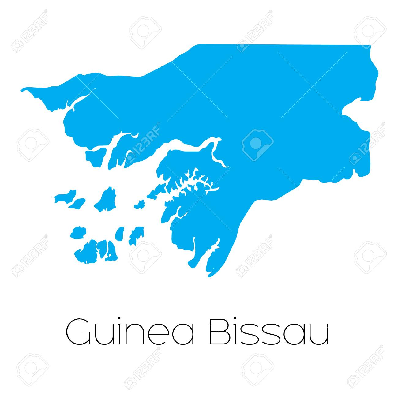 A Blue shape with name of the country of Guinea Bissau Stock Photo - 44842362