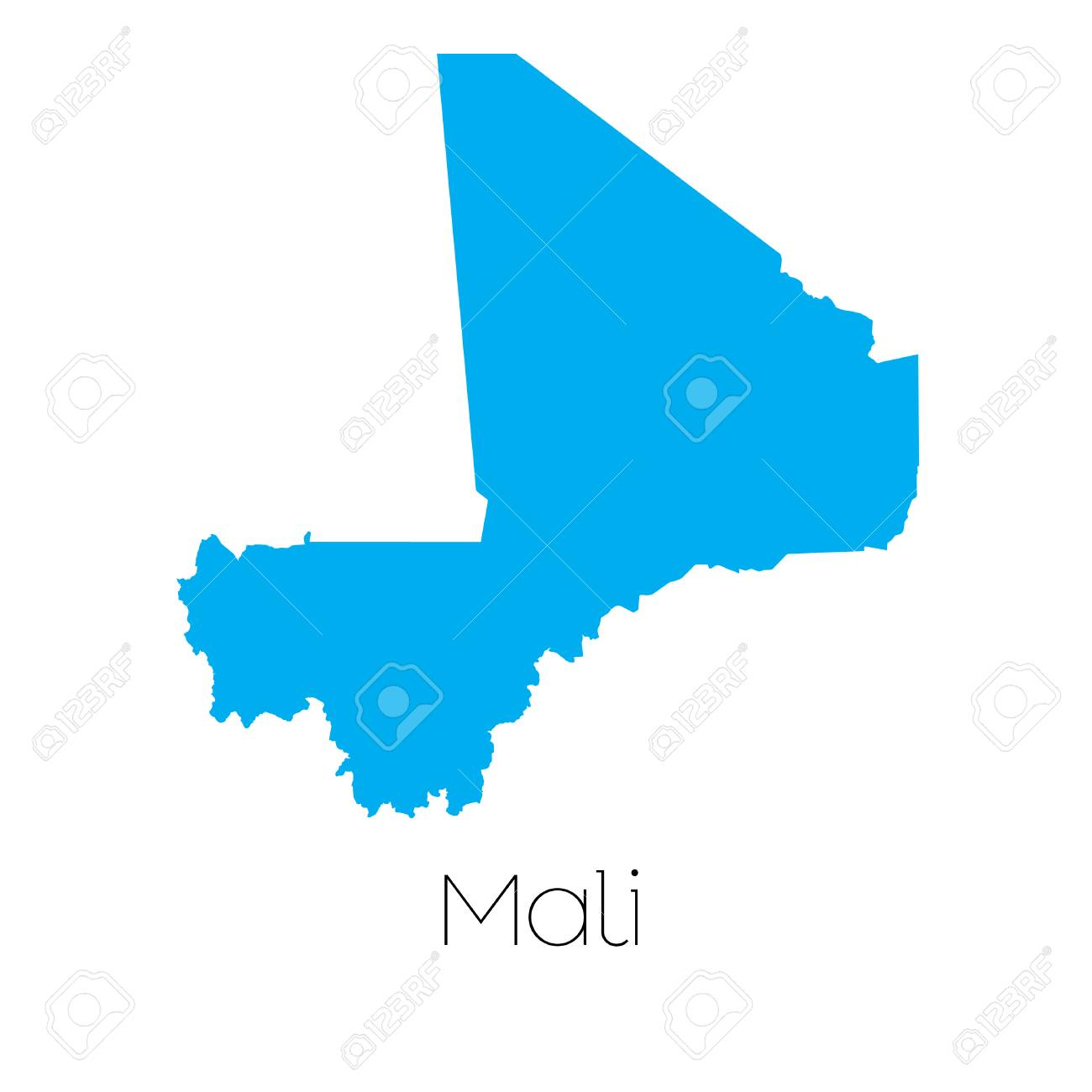 A Blue shape with name of the country of Mali Stock Photo - 44917587